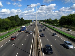 The M4 near Slough. The M4 runs between London and South Wales