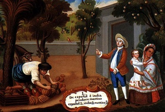 "A representation of a Mestizo, in a Pintura de Castas from New Spain during the late colonial period. The painting's caption states ""Spanish and Indian produce Mestizo"", 1780."