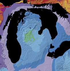 Geologic map of the Michigan Basin.