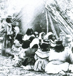 Miwok-Paiute ceremony in 1872 at current site of Yosemite Lodge in Yosemite Valley
