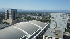 An aerial view of the San Jose Convention Center in 2011.