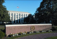 Northeastern's historic Ell Hall on Huntington Avenue.