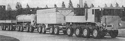Overseas Roadtrain bound for Russia, with specialised trailers.