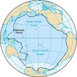 Area inside the black line indicates the area constituting the Pacific Ocean prior to 2002; darker blue areas are its informal current borders following the recreation of the Southern Ocean and the reinclusion of marginal seas[27]