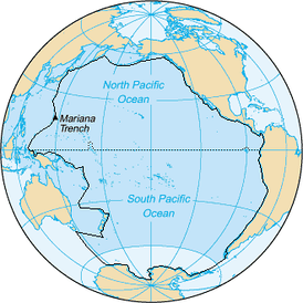 The Pacific Ocean as example of terminology concerning seas: the area inside the black line includes the seas included in the Pacific Ocean prior to 2002 and the darker blue areas are its informal current borders, following the recreation of the Southern Ocean and the reinclusion of marginal seas.[28]