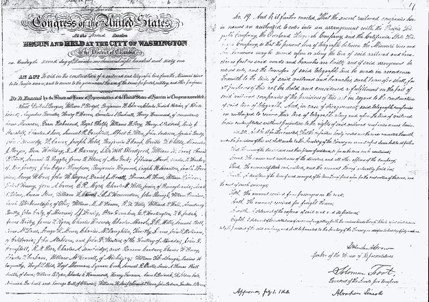 First and last pages of the original manuscript of the Pacific Railroad Act of 1862 (12 Stat. 489) signed by President Lincoln on July 1, 1862 (U.S. National Archives)