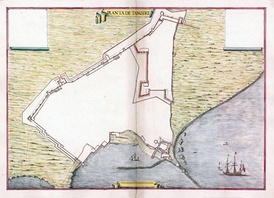 De Ferrari's plan of the Portuguese fortifications at Tangier, c. 1655.