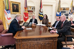Haspel in a meeting with President Donald Trump, John Bolton, and Dan Coats, January 2019