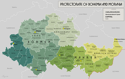 Map of the Protectorate of Bohemia and Moravia