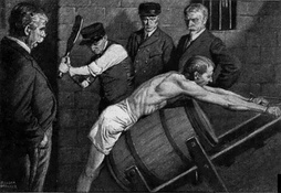 1912 illustration of an inmate being punished in an American prison