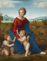 The Madonna of the Meadow, c. 1506, using Leonardo's pyramidal composition for subjects of the Holy Family.[34]
