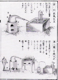 The work of Lavoisier was translated in Japan in the 1840s, through the process of Rangaku. Page from Udagawa Yōan's 1840 Seimi Kaisō
