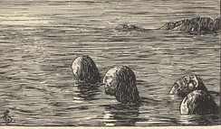According to Heimskringla, During the Christianization of Norway, King Olaf Trygvasson had male völvas (shamans) tied up and left on a skerry at ebb (woodcut by Halfdan Egedius (1877–1899).
