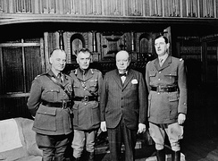 Charles de Gaulle (far right) with Andrew McNaughton, Władysław Sikorski, and Winston Churchill