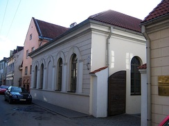 The Neviazh Kloyz is one of the remaining former synagogues, located in the Kaunas Old Town.[129] The complex was built in the 19th century and also served as a community house and school.[130]
