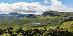 Looking South over the Quiraing on the Isle of Skye (left). Clisham, the highest point on Isle of Harris (right)