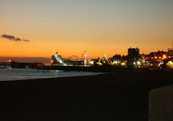 The sunset in Southend, a view of Adventure Island in 2007