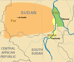 Southern Sudan in c. 1800. Modern boundaries are shown.