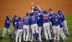 The Cubs celebrate the team's first World Series win in 108 years