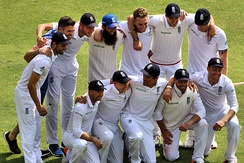 The England team celebrate victory over Australia in the 2015 Ashes series