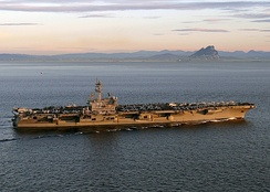 George H.W. Bush transits the Straits of Gibraltar in February 2014.