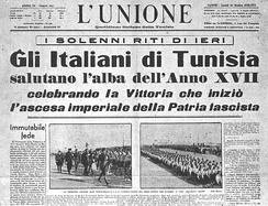 Italian newspaper in Tunisia from October 1938 that represented Italians living in the French protectorate of Tunisia