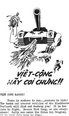 Propaganda leaflet urging the defection of Viet Cong and North Vietnamese to the side of the Republic of Vietnam