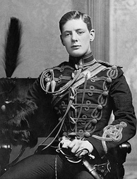 Churchill in the military dress uniform of the Fourth Queen's Own Hussars at Aldershot in 1895.[24]