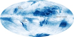 Global cloud cover, averaged over the month of October 2009. NASA composite satellite image.[87]