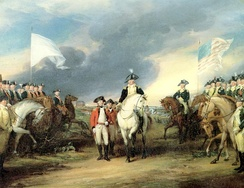Surrender of Cornwallis to French (left) and American (right) troops, at the Siege of Yorktown in 1781, by John Trumbull
