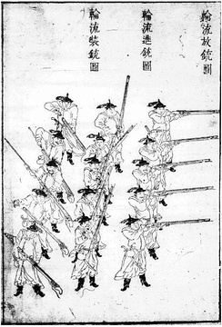 Illustration of a 1639 Ming musketry volley formation