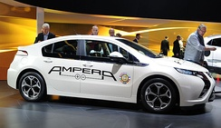Opel Ampera exhibited with the 2012 European Car of the Year logo at the Geneva Motor Show