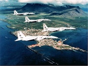 57th Fighter-Interceptor Squadron F-15 Eagles over Iceland 1986