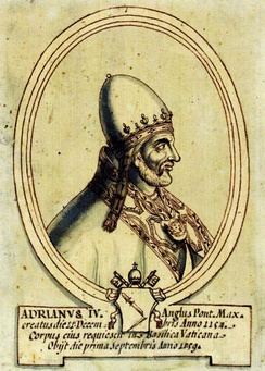 Pope Adrian IV (d. 1159, born Nicholas Breakspear, the only Englishman to occupy the papal throne) did not use a personal coat of arms; Nevertheless, he was given attributed arms (showing a broken spear) in this 17th-century portrait.