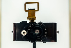 A replica of the first Leica camera, the Ur-Leica, developed by Oskar Barnack. This replica is on display at the company's headquarters in Wetzlar, Germany.