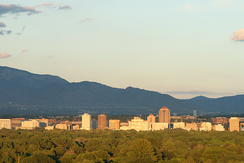 Albuquerque skyline with the Sandia Mountains in the distance