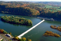 The eastern part of Allegheny Islands State Park and the C. W. Bill Young Lock and Dam (No. 3) on the Allegheny River