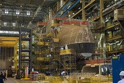 HMS Audacious under construction inside DDH in 2013