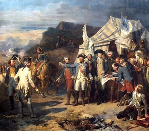 Siège de Yorktown by Auguste Couder, c. 1836.[a] Rochambeau and Washington giving their last orders before the battle.