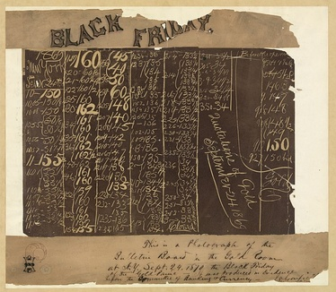 Photograph of the blackboard in the New York Gold Room, September 24, 1869, showing the collapse of the price of gold. Handwritten caption by James A. Garfield indicates it was used as evidence before the Committee of Banking & Currency during hearings in 1870.