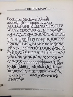 Meola's Bookman, showing its extremely large range of ostentatious swash characters.