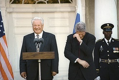 Boris Yeltsin and  Bill Clinton enjoying a joke, in spite of their language differences