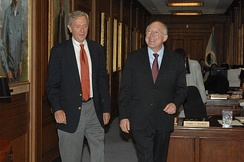 Babbitt with then-Secretary of the Interior Ken Salazar at the Department's headquarters in Washington, D.C.