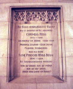 Gravesite of Cordell Hull at the St. Joseph of Arimathea Chapel, in Washington National Cathedral Church.
