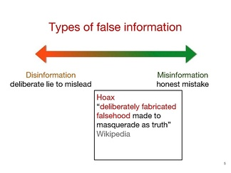 Graphic showing differences between misinformation, disinformation, and hoax, presented for Wikimedia Research (2015)