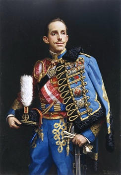 "Alfonso XIII of Spain wearing a Regiment no. 4 ""Pavia Húsares (Hussars) uniform, 1912"