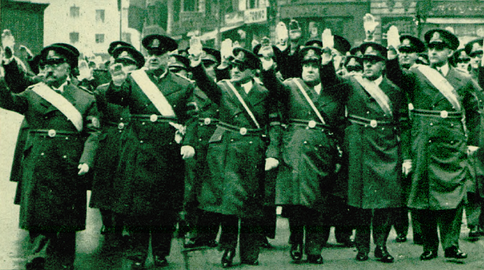 Leaders of the National Renaissance Front on Calea Victoriei, marking the first-year anniversary of the Carlist Constitution (February 1939). From the left: Vaida, Constantin Argetoianu, Armand Călinescu, Victor Iamandi, Victor Slăvescu, Mihail Ghelmegeanu