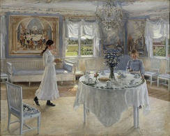 A Day of Celebration. A painting by Swedish artist Fanny Brate depicting preparations for a name day celebration. Oil on canvas, 1902.