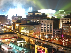 Looking toward Ford Field the night of Super Bowl XL