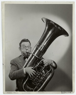 Allen playing the tuba, date unknown.